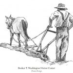 Man with plow pencil art by Leslie Evans Illustration