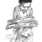 boy carrying wood Man with plow pencil art by Leslie Evans Illlustration