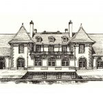 Weld Boathouse pen & ink drawing by Leslie Evans Illustration