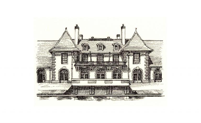 Weld Boathouse pen & ink drawing by Leslie Evans Illustration
