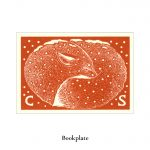Winter fox bookplate wood engraving by Leslie Evans