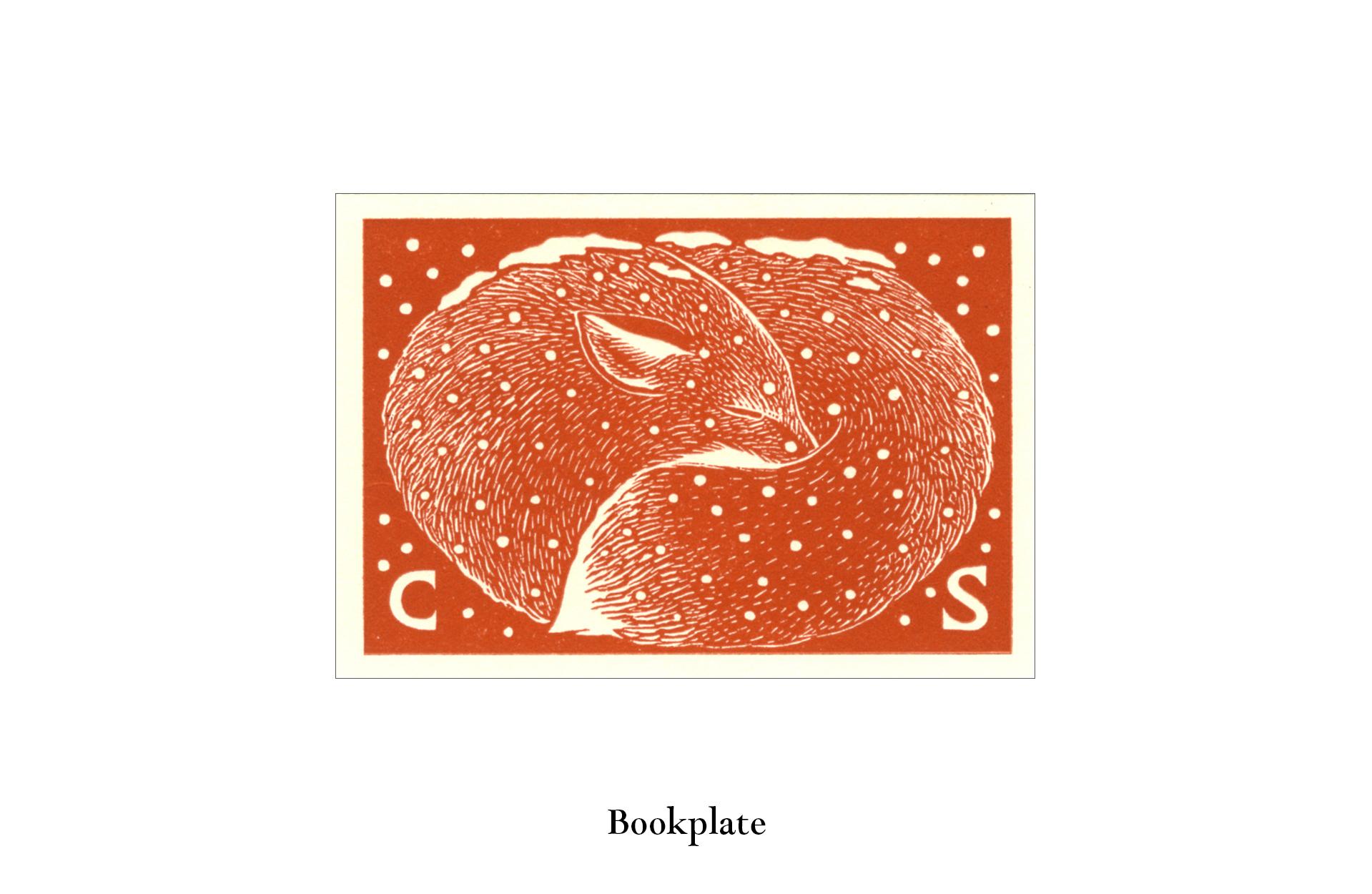 Winter fox bookplate wood engraving by Leslie Evans