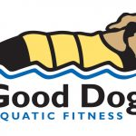 Good Dog Aquatic Fitness logo linocut illustration & design by Leslie Evans