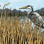 River heron linocut by illustrator Leslie Evans