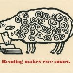 Reading makes ewe smart poster by Leslie Evans, Sea Dog Press