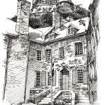 quebec pen and ink illustration by Leslie Evans
