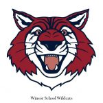 Winsor School Wildcats logo linocut illustration by Leslie Evans