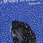 Snow & Whiskers cover linocut by Leslie Evans