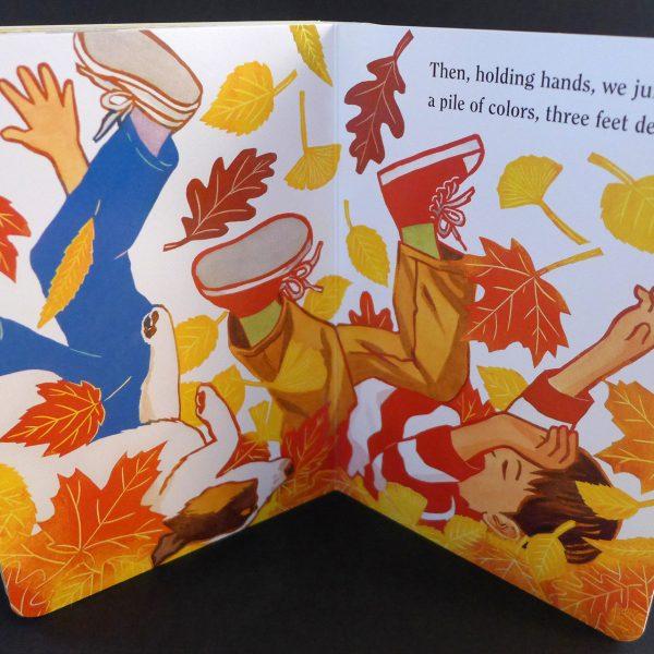 Leaf Jumpers board book illustrated by Leslie Evans