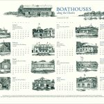 Boathouses on the Charles calendar by Leslie Evans, Sea Dog Press