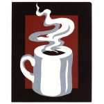 Coffee cup reduction linocut by Leslie Evans, Sea Dog Press