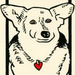 linocut dog art by Leslie Evans, Sea Dog Press
