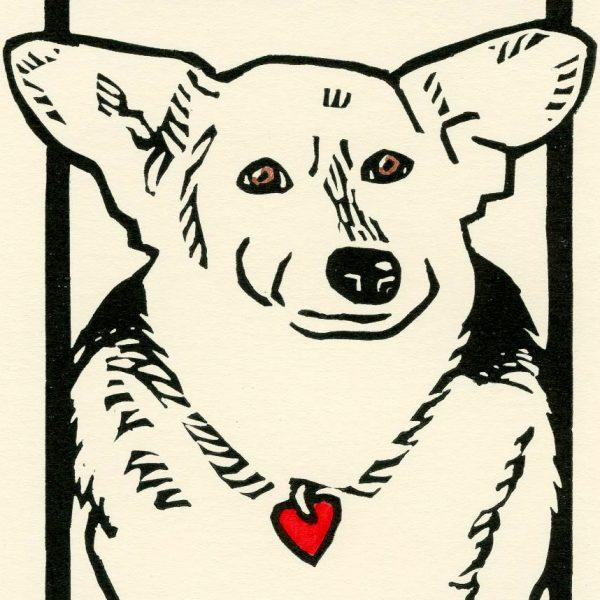 linocut dog art by Leslie Evans, Sea Dog Press