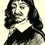 Descartes linocut portrait by Leslie Evans Illustration