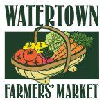 Watertown Farmers' Market logo linocut illustration & design by Leslie Evans