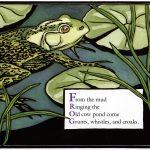 frog linocut art by Leslie Evans Illustration