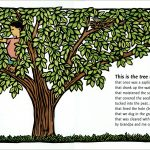 This is the tree linocut illustration by Leslie Evans