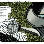 watering can linocut illustration by Leslie Evans