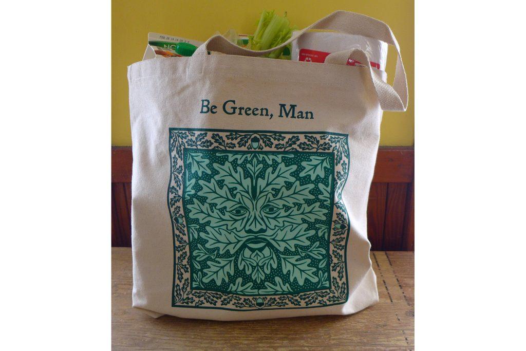 Be Green, Man shopping bag by Leslie Evans, Sea Dog Press