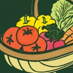 Watertown Farmers' Market logo linocut illustration by Leslie Evans