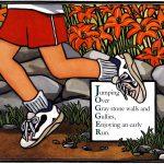 jogger linocut art by Leslie Evans