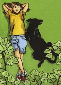 Lazy day linocut art by Leslie Evans, Sea Dog Press