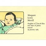 Margaret birth announcement by Leslie Evans, Sea Dog Press