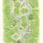 Mt. Auburn Cemetery watercolor map by Leslie Evans Illustration