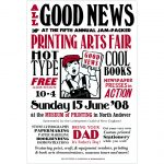 Printing Arts Fair 2008 poster by Leslie Evans, Sea Dog Press