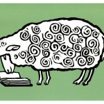 Reading makes ewe smart art by Leslie Evans, Sea Dog Press