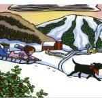 Sledding romp greeting card by Leslie Evans, Sea Dog Press