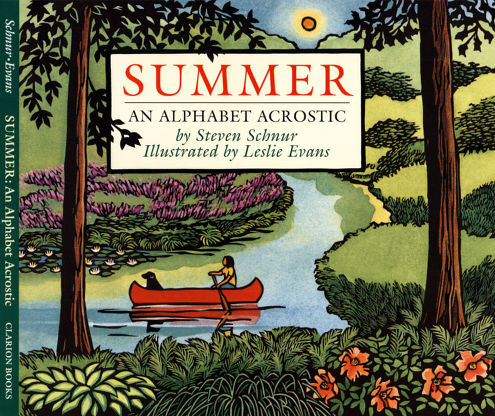 Summer, An Alphabet Acrostic cover linocut illustration by Leslie Evans