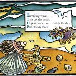 tide linocut art by Leslie Evans Illustration