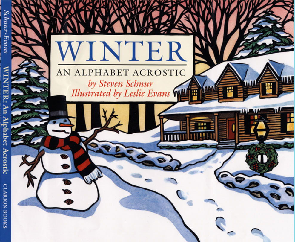 Winter, An Alphabet Acrostic cover linocut illustration by Leslie Evans